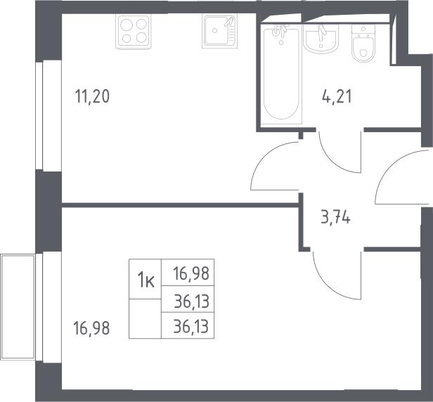 1-комнатная, 36.13 м²– 2