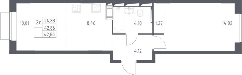 2Е-комнатная, 42.86 м²– 2