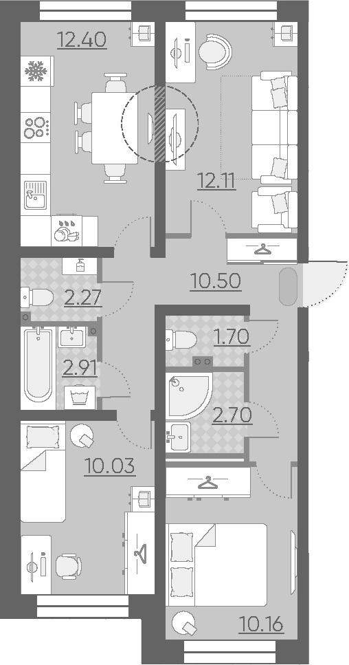 3-к.кв, 64.78 м²