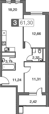 3Е-к.кв, 61.3 м²