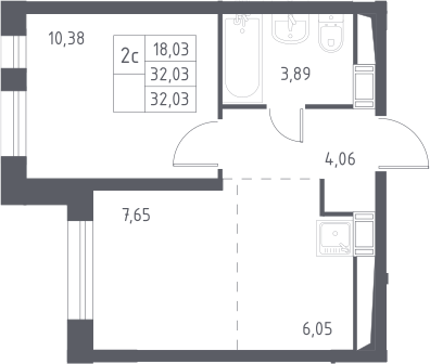 2Е-к.кв, 32.03 м², 16 этаж