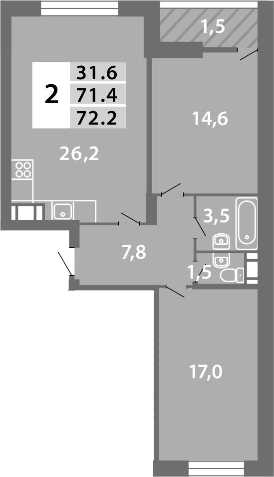 3Е-комнатная, 71.79 м²– 2