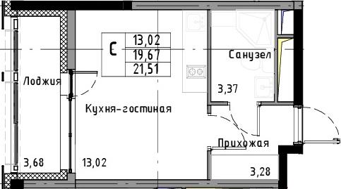 Студия, 21.51 м², 7 этаж