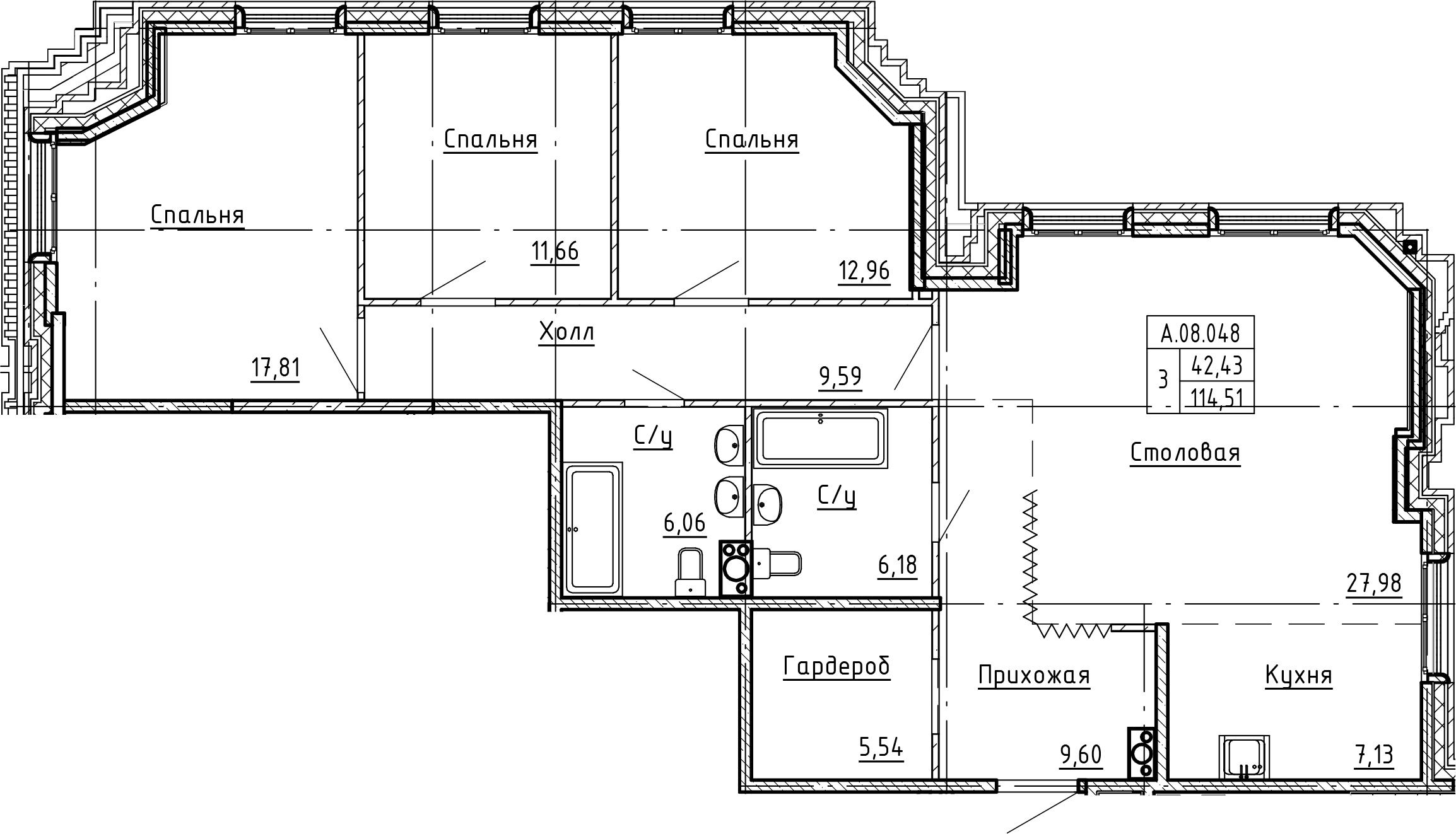 4Е-комнатная, 114.51 м²– 2