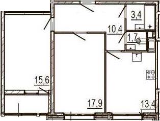2-к.кв, 64.2 м², 9 этаж