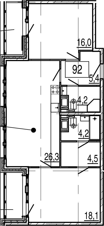 3Е-комнатная, 81 м²– 2