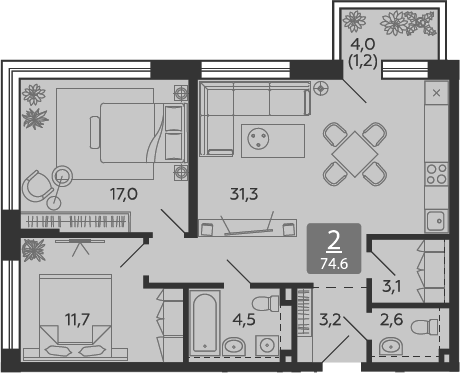 3Е-к.кв, 74.6 м²