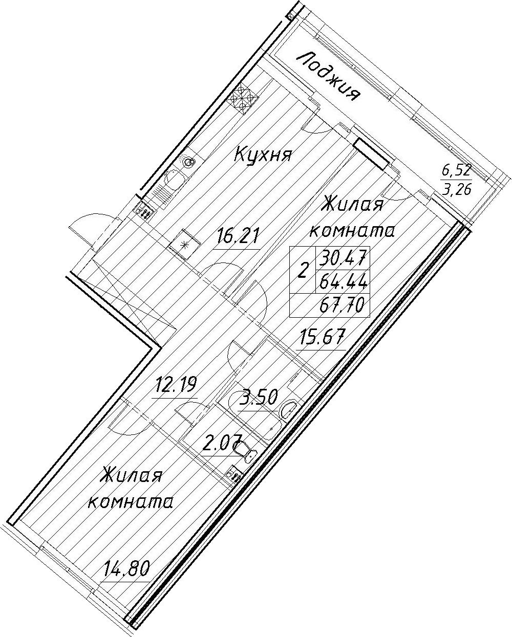 3-к.кв (евро), 70.96 м²