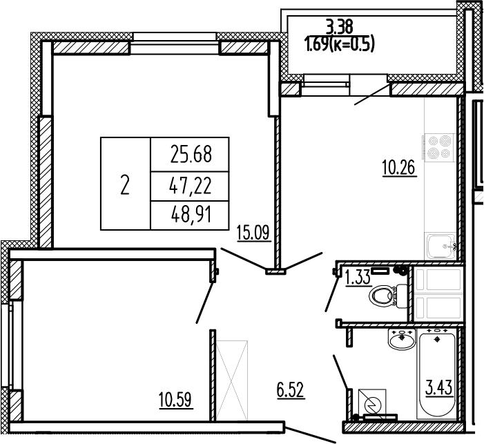 2-к.кв, 50.6 м²