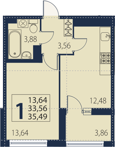 1-к.кв, 37.42 м²