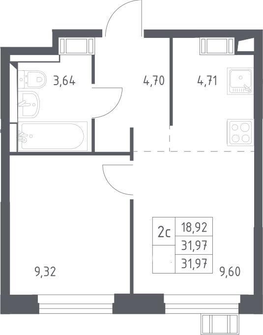 2Е-к.кв, 31.97 м², 16 этаж