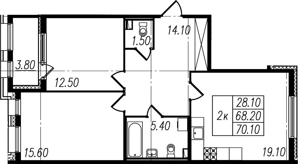 3Е-к.кв, 68.2 м², 2 этаж