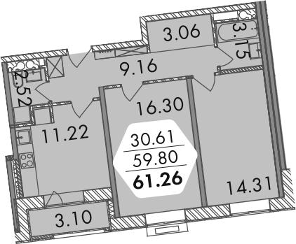 2-к.кв, 61.27 м²