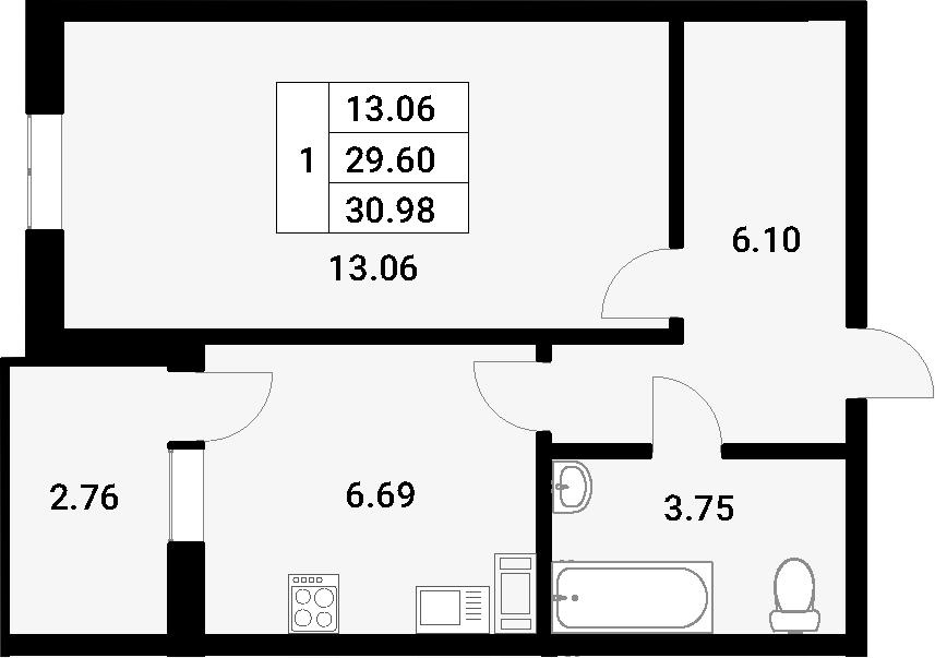 1-к.кв, 32.36 м²