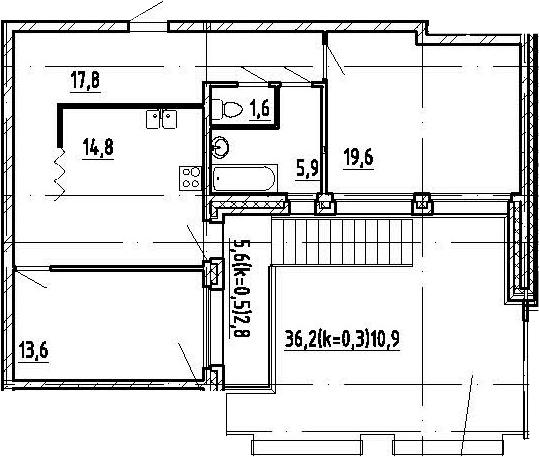 2-комнатная, 87 м²– 2