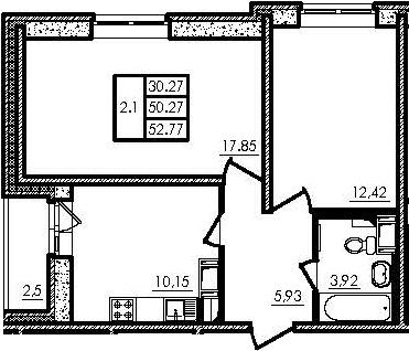 2-к.кв, 50.27 м², от 15 этажа