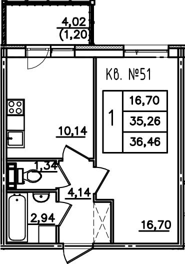 1-к.кв, 39.27 м²