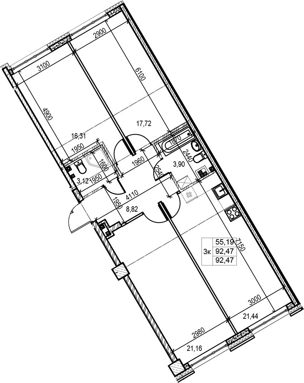 4Е-к.кв, 92.47 м², 2 этаж