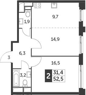 2Е-к.кв, 52.5 м²