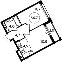 2Е-к.кв, 36.7 м², 10 этаж
