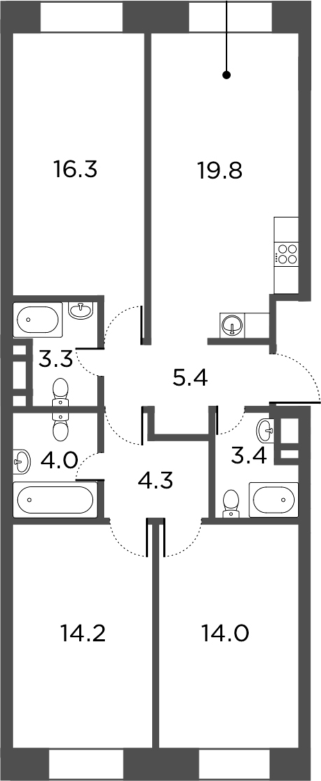 4Е-комнатная, 84.7 м²– 2