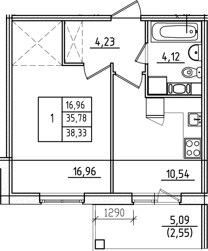 1-комнатная, 38.33 м²– 2