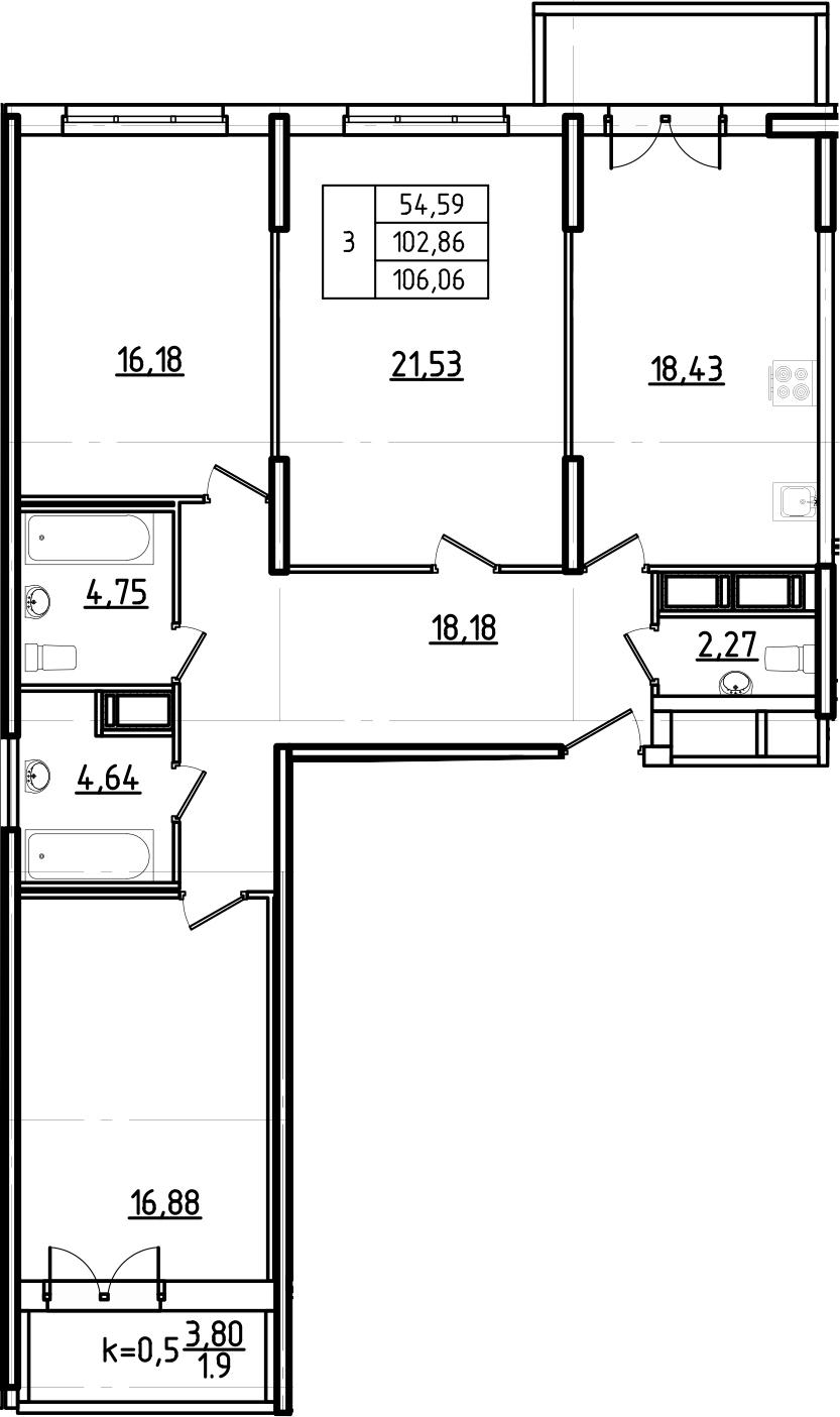 4Е-комнатная, 106.06 м²– 2