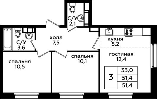 3Е-комнатная, 51.4 м²– 2