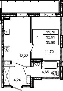 1-к.кв, 35.9 м², 2 этаж