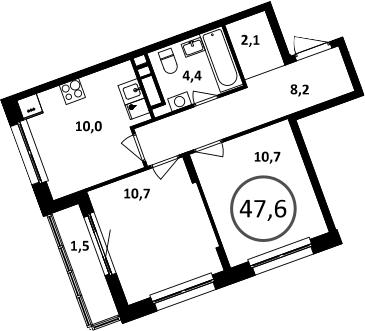 2-к.кв, 47.6 м²