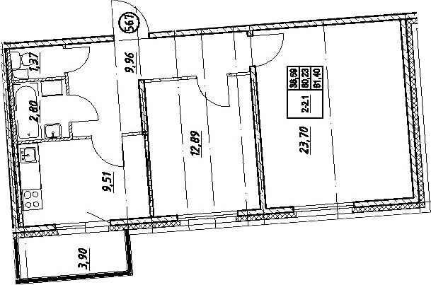 2-комнатная, 61.4 м²– 2