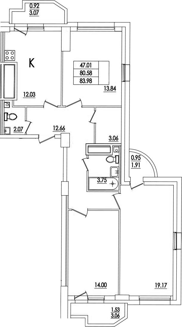 3-к.кв, 83.98 м²