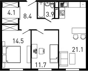 3Е-комнатная, 64 м²– 2