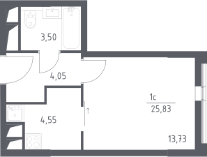 Студия, 25.83 м²