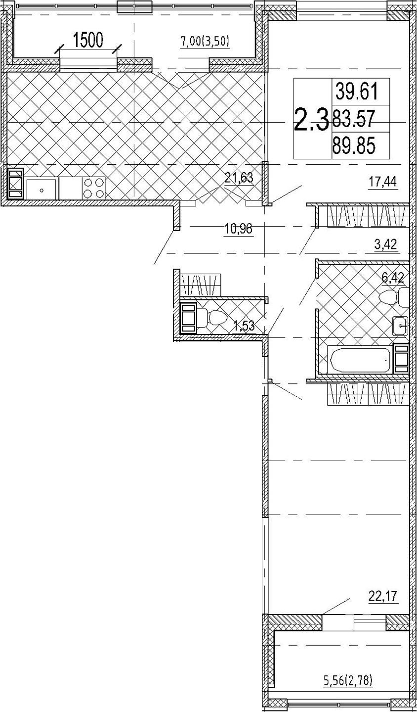 3Е-комнатная, 89.85 м²– 2