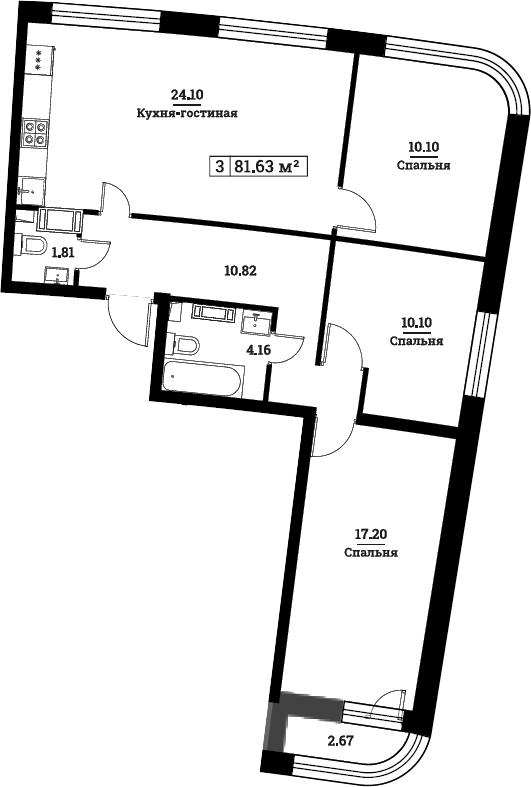 4Е-комнатная, 81.63 м²– 2