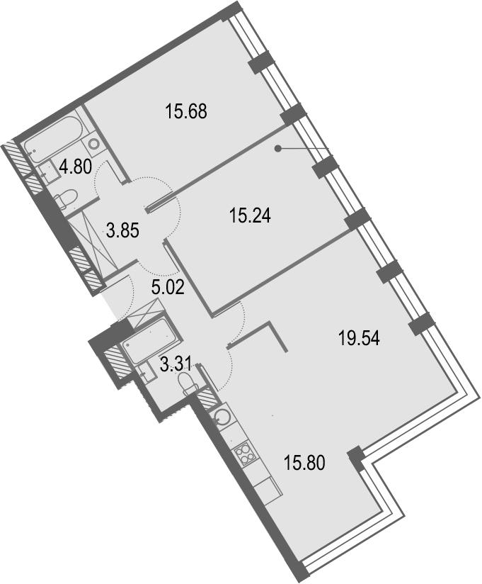 4Е-к.кв, 83.21 м², 23 этаж