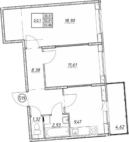 2-к.кв, 57.22 м²