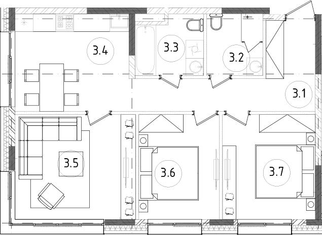 3-к.кв, 65.34 м², от 10 этажа