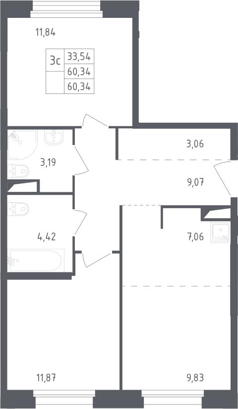 3Е-к.кв, 60.34 м²