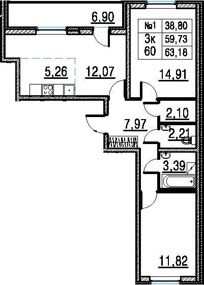 3Е-к.кв, 63.18 м²