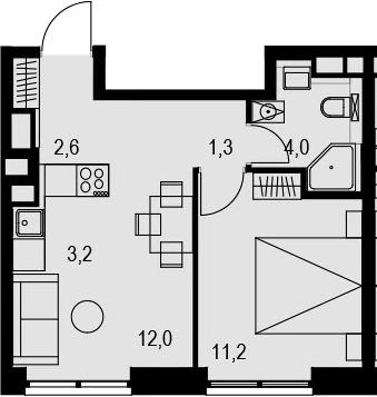 2Е-к.кв, 34.3 м², 20 этаж