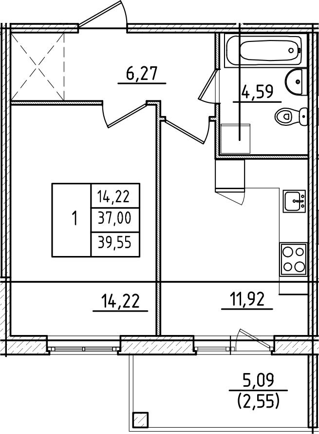 1-комнатная, 39.55 м²– 2