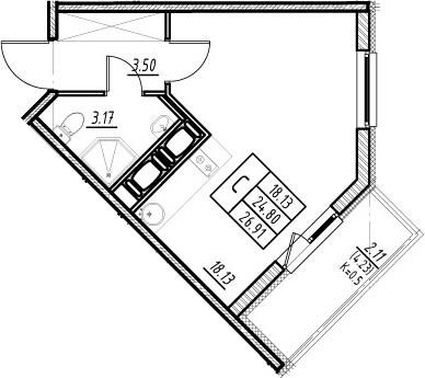 Студия, 24.8 м²