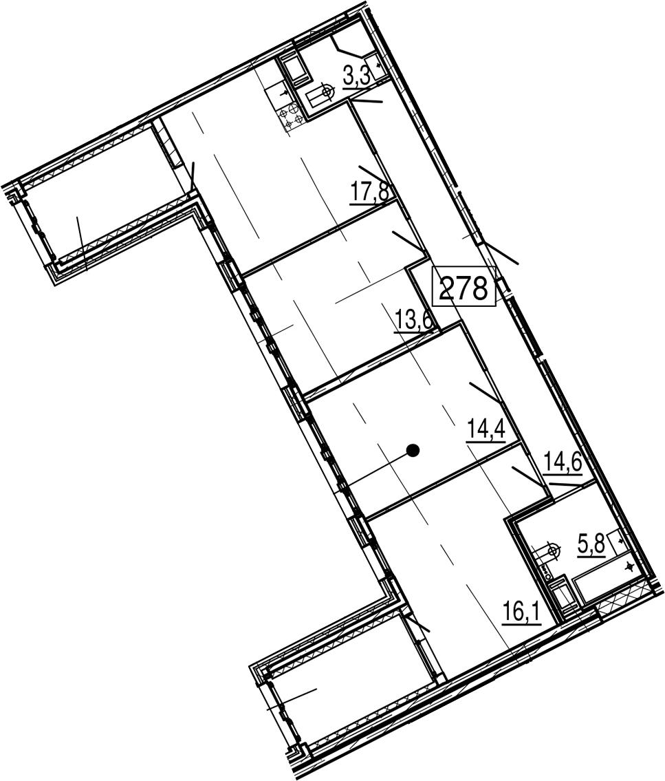 4Е-к.кв, 92.6 м², 11 этаж