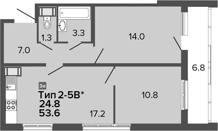 3Е-к.кв, 53.6 м², 22 этаж