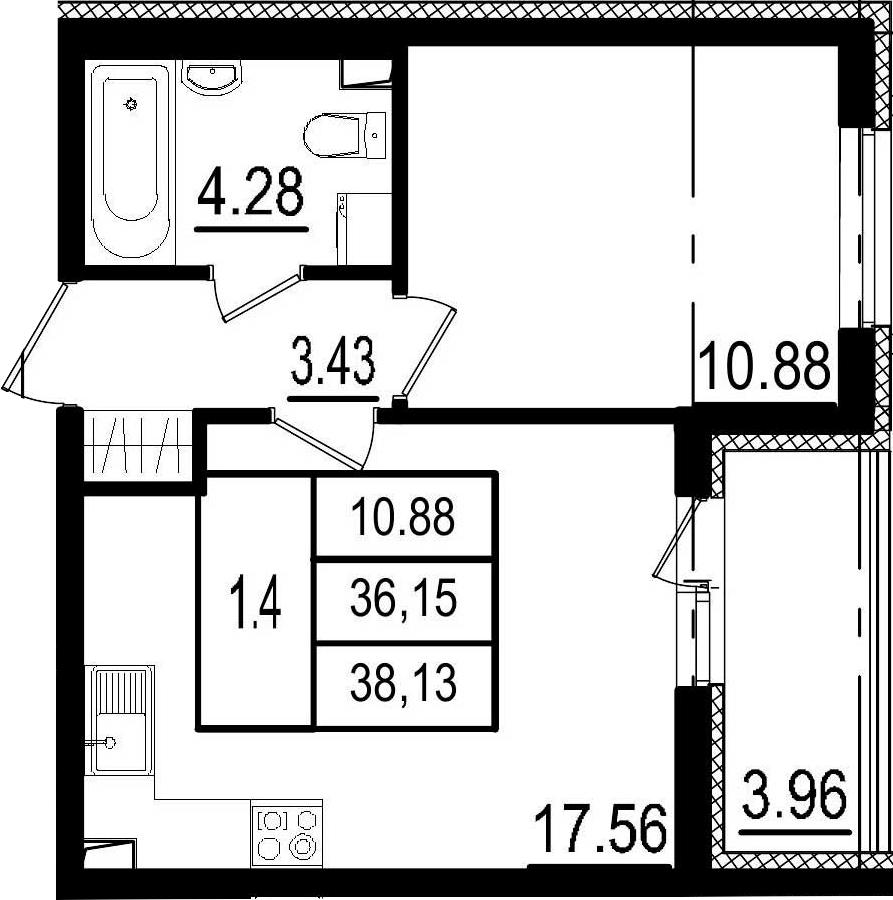 2Е-комнатная, 36.15 м²– 2