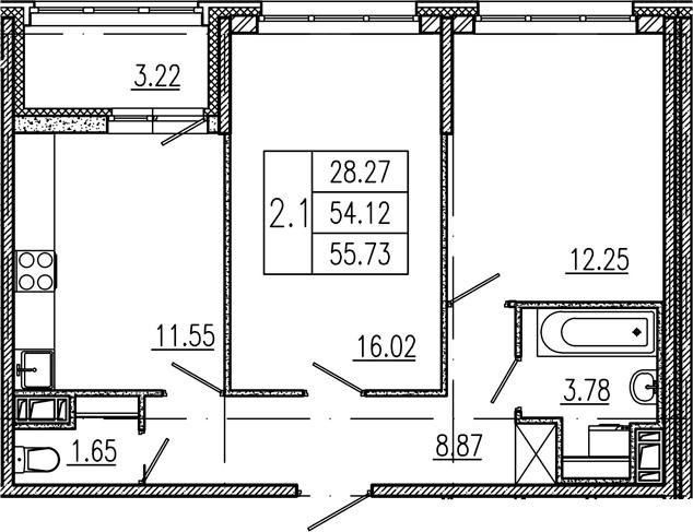 2-к.кв, 54.12 м², 2 этаж