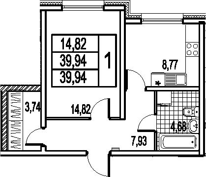 1-к.кв, 39.94 м²