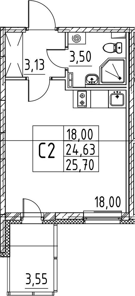Студия, 24.63 м², 3 этаж